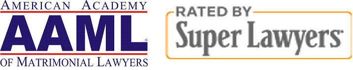 american academy of matrimonial lawyers logo and rated by super lawyers badge